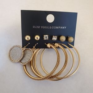 NWT New York & Company Earings Set Hoops & Studs